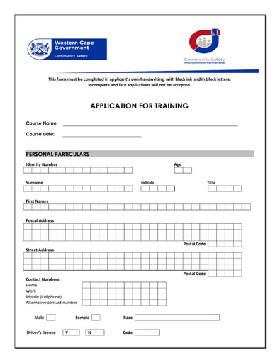 TRAINING APPLICATION FORM 2020