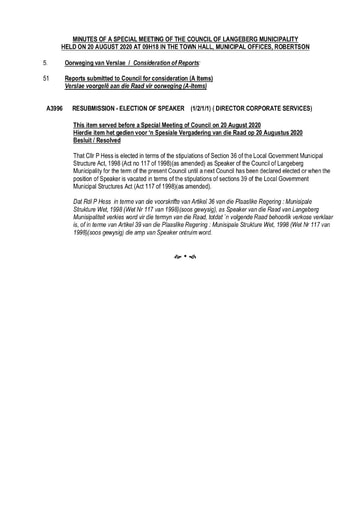 Council Resolutions of 20 Aug 2020