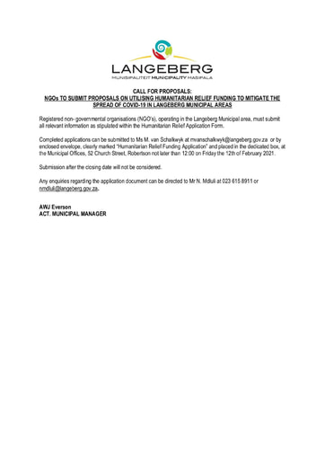 NGOs TO SUBMIT PROPOSALS ON UTILISING HUMANITARIAN RELIEF FUNDING TO MITIGATE THE SPREAD OF COVID-19 IN LANGEBERG MUNICIPAL AREAS