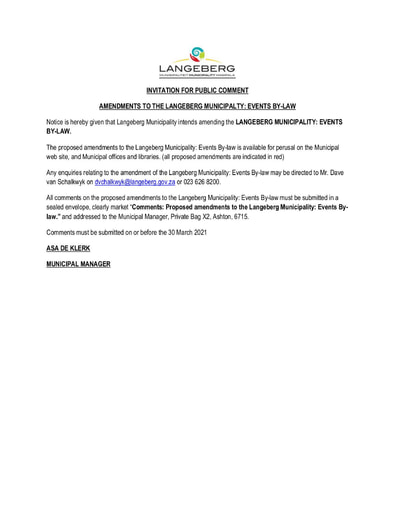 INVITATION FOR PUBLIC COMMENT: AMENDMENTS TO THE LANGEBERG MUNICIPALTY EVENTS BY-LAW